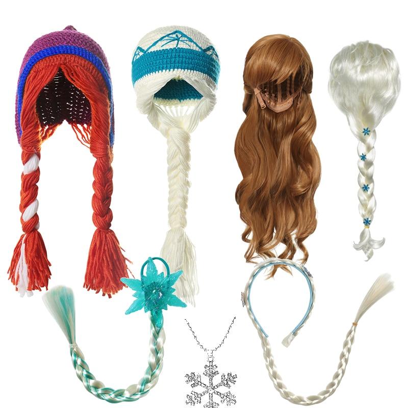 VOGUEON New Elsa Anna Accessories for Baby Girls Fancy Wigs Crochet Hats Princess Necklace Headband Braids Children Party Gifts
