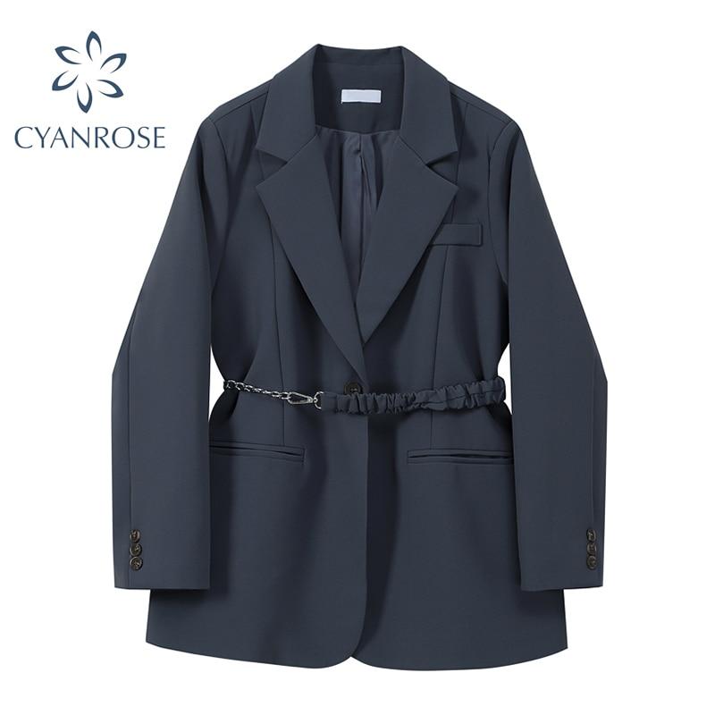 High Waist Belt Slim Blazer Jacket Women Notched Collar Solid Retro Office Ladies Korean Work Loose