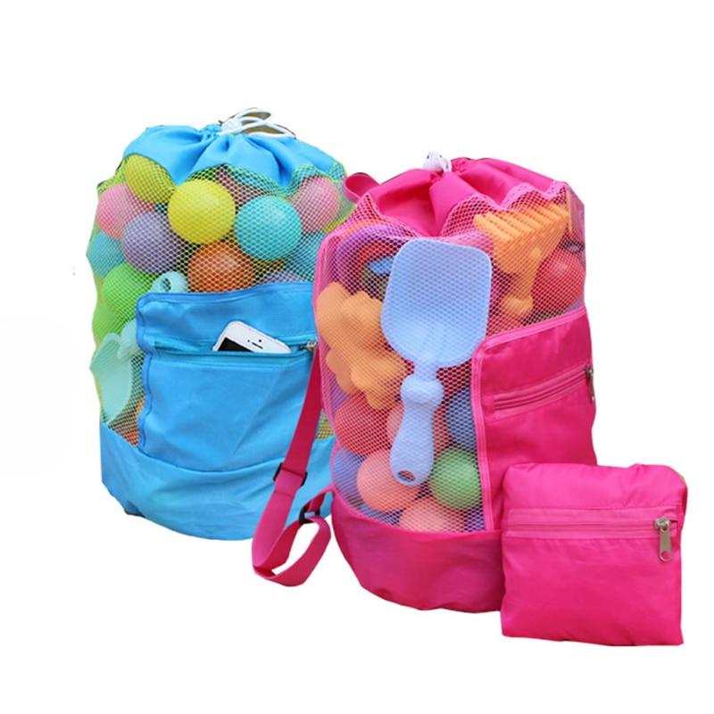 Portable Baby Beach Toys Storage Mesh Bags Kids Beach Sand Toys Net Bag Fun Sports Bathroom Clothes Towels Backpacks