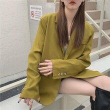 women blazer mustard green loose spring suit jacket female clothes 6128#