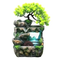 desktop resin fountain without atomizer wealth feng shui rockery waterfall fountain with led light for company office desk decor