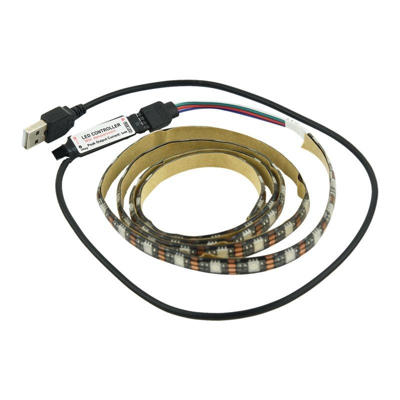 1M 5V SMD 5050 60LED cambia de Color RGB tira de luz LED iluminación trasera de TV Kit + USB 24Key remoto