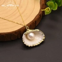 glseevo original natural shell fresh water white pearl pendant necklace for women girls party handmade fine jewelry gn0141
