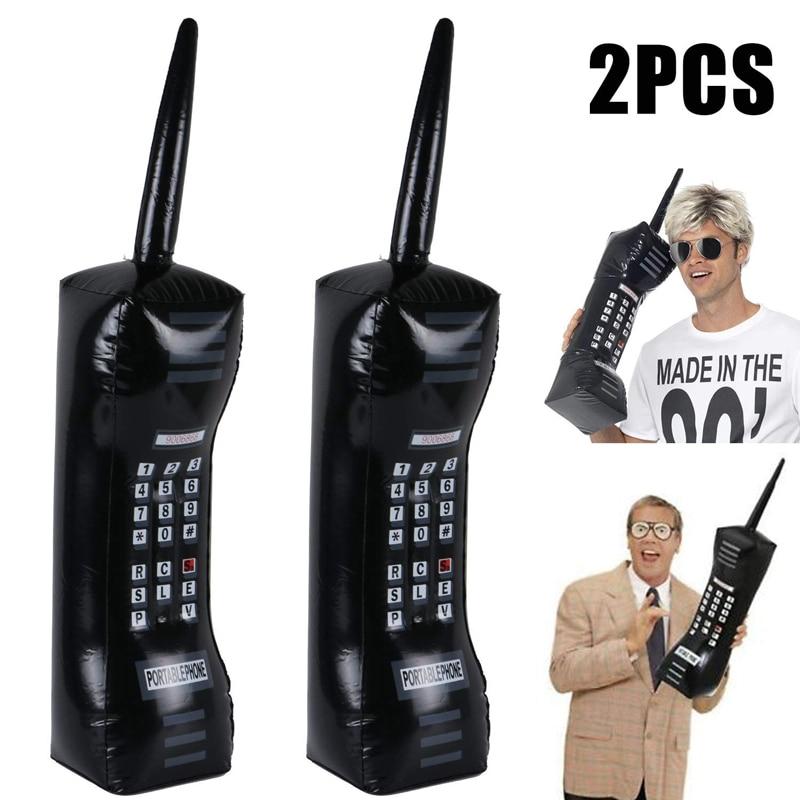 2 STUKS Opblaasbare Mobiele Telefoon 80s 90s Party Decoraties Levert Retro Mobiele Jurk Accessoire Telefoon Booth Props Kds Opgeblazen Speelgoed