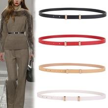 Cinturones de cuero genuino para mujer, cinturón de cuero de vaca de primera capa con hebilla de Pin, fajas finas y suaves para Vaqueros, vestido