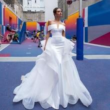 Louis Novias Sexy Boat Neck Detachable Train Strapless Mermaid Wedding Dresses 2020 With Sleeves Wedding Gowns vestido de novia