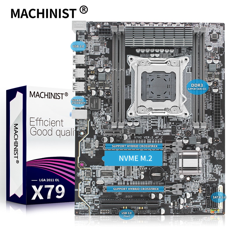 MASCHINIST X79 desktop motherboard LGA 2011 ATX unterstützung Xeon E5 V1 & V2 prozessor Overclocking DDR3 ECC RAM X79 2,4 F mainboard