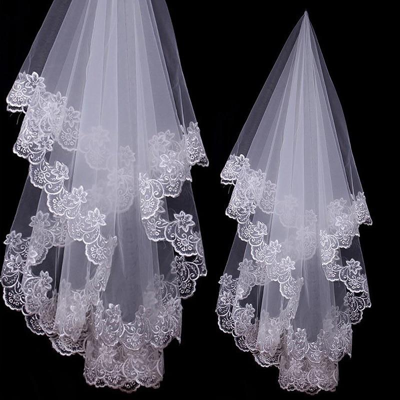 Dasma e katedrales vello të bardha dhe prej fildishi të shkurtra një shtresë aplikacione të velit të nusërisë buzë dantelle pa pajisje krehje dasme