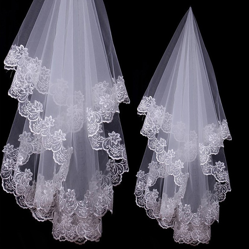 Catedrala nunta voaluri albe si ivoire scurte un strat voal mireasa aplicatii dantela margine fara pieptene accesorii nunta