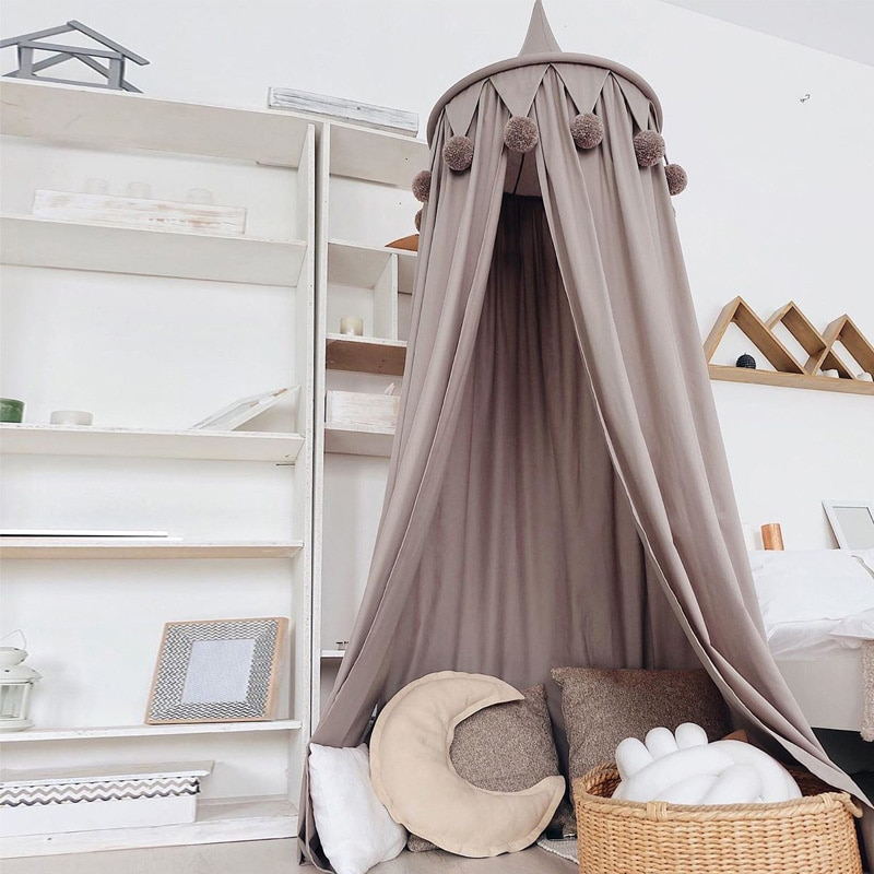 الوردي سرير مغطى الستائر سرير الطفل ناموسية غرفة الفتيات اكسسوارات خيمة لعب الأطفال للأطفال غرفة نوم الديكور