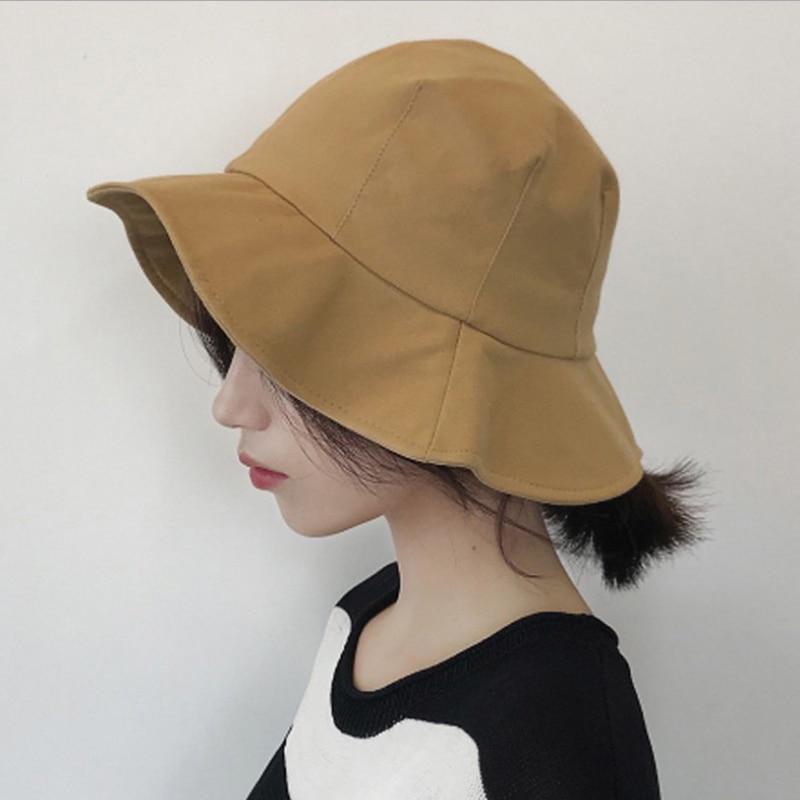 New Fashion Arrive Spring Summer Cotton Flounces Brim Fold Artistic Sunshade Soft Wear Breathable Pure Color Panama Bucket Hat