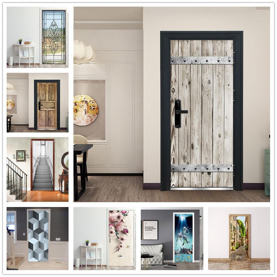 3D Wallpaper Self Adhesive Door Mural Removable Vinyl Home Decor Art Decal Wooden Scenery Wall Poste