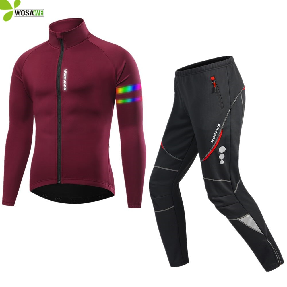 WOSAWE Autumn Winter Men's Cycling Clothing Reflective Windproof Thermal Fleece Jacket Jersey MTB Bike Trousers Set Bicycle Suit