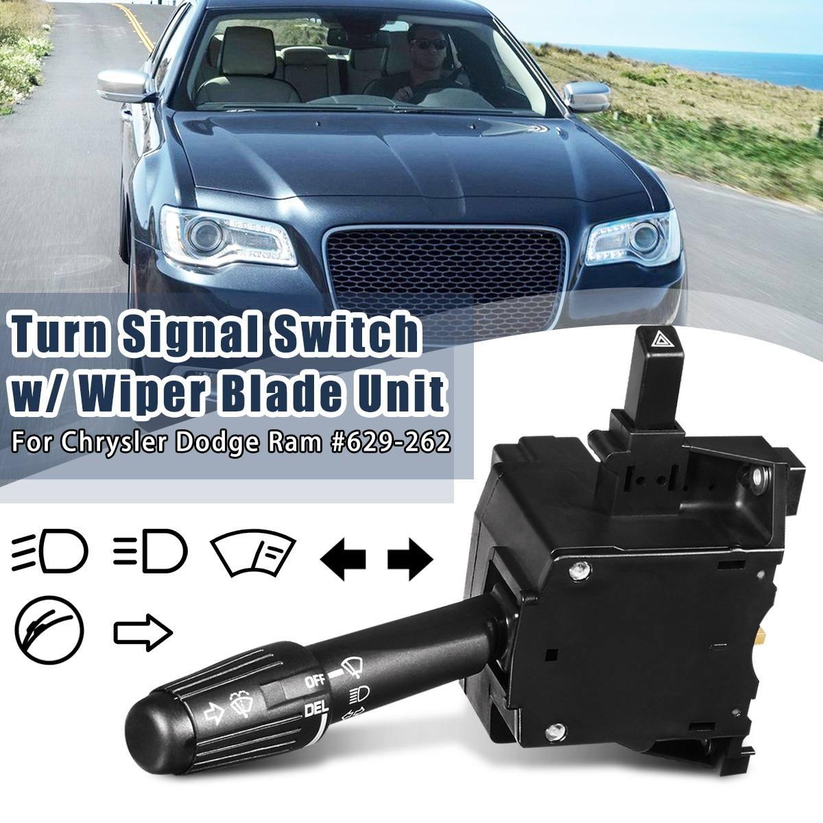 #629-262 Faro de coche + Luz de señal de giro + Unidad de interruptor de escobilla de limpiaparabrisas para Jeep Cherokee/Chrysler/Plymouth/Dodge Ram 1500 2500 B250