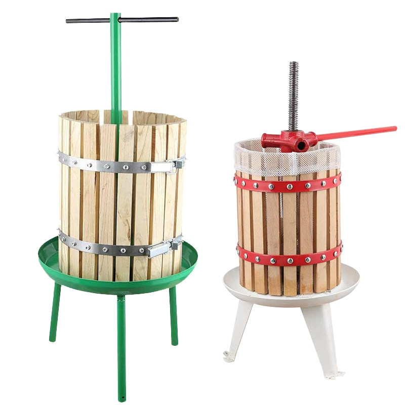 6L Drum Grape Press Fruit and Vegetable Press Household Commercial Agricultural Manual Juicer Wood Press