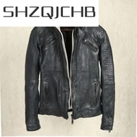 shzq fashion 100 genuine leather jacket men clothes 2021 korean casual real sheepskin coat male autumn slim fit coats jackets