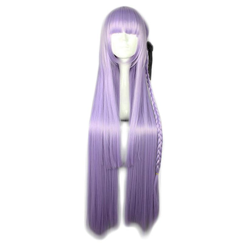 Dangan Ronpa Danganronpa Kirigiri Kyouko púrpura trenza recta largo Cosplay pelo sintético Halloween carnaval + gorra de peluca gratis