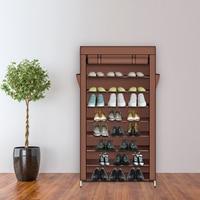 10 Tiers Shoe Rack with Dustproof Cover Closet Shoe Storage Cabinet Mocha Home Dooeway Dust-proof Organizer 86 x 28 x 158cm