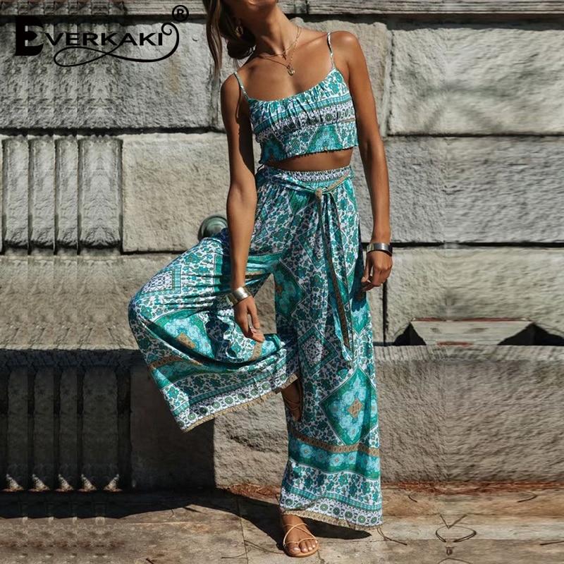 Everkaki Suits Sets Women Boho Floral Print Summer Ladies Short Top and Long Pants 2 Pieces Suits Sets Female 2020 Spring New