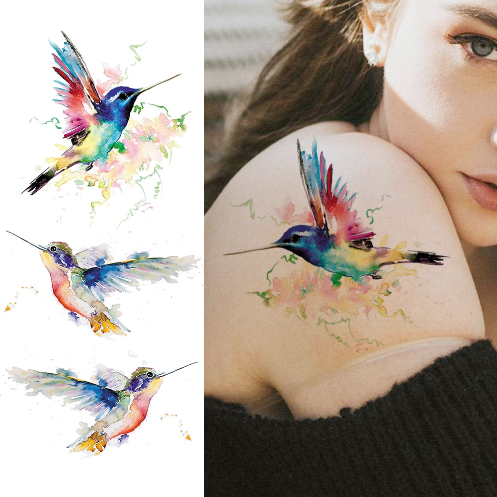 Tatuagem temporária adesiva 3d, arte corporal feminina, braço, ombro, à prova dágua