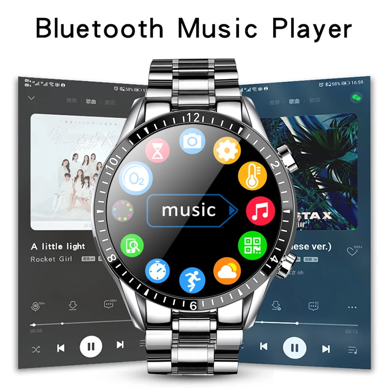 2021 new smart clocks Men Full Touch Screen Sports Fitness Clock IP67 Bluetooth Waterproof Clock For Android ios smartwatch Men enlarge