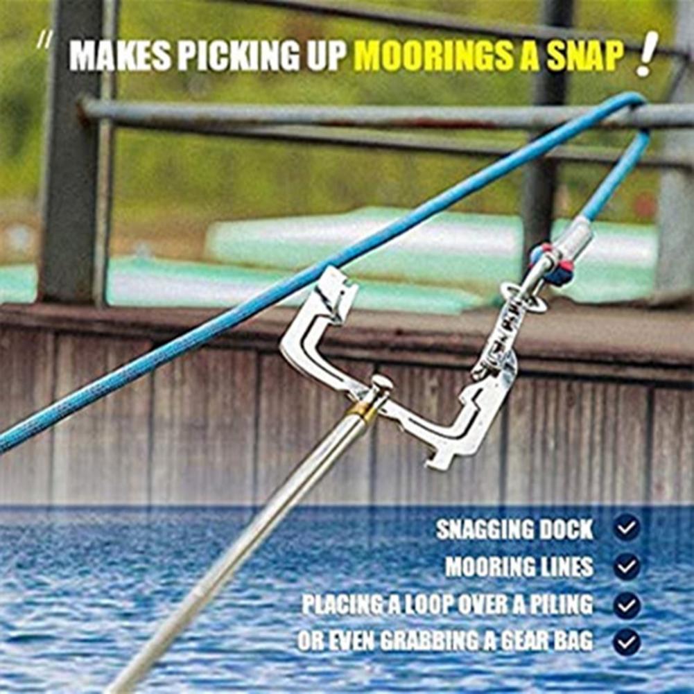 Профессиональный Телескопический крючок для лодки, крючок для лодки с резьбой на большие расстояния, многофункциональное металлическое фи...