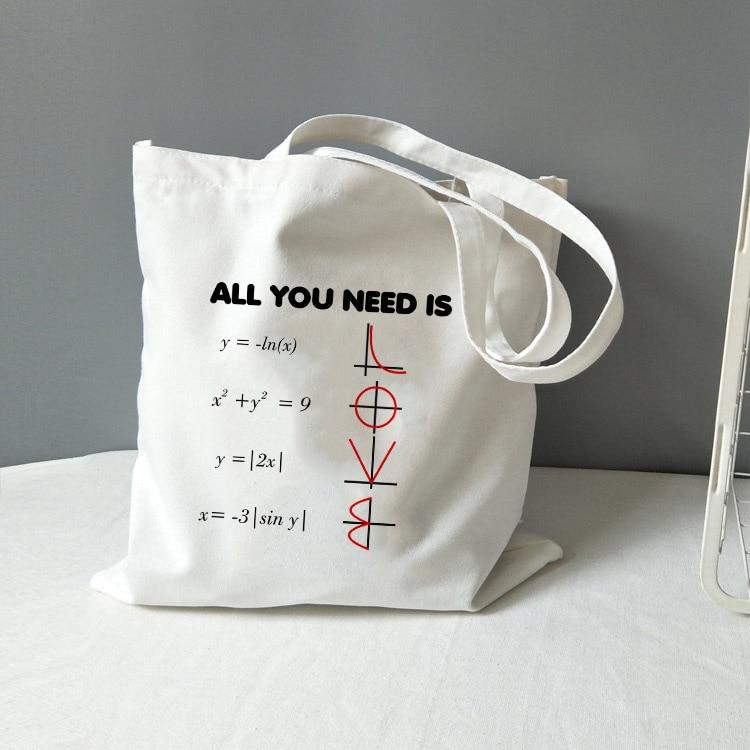 Chemistry Tote Bag Canvas All You Need Is Love Math Graphic Fashion Travel Storage Bag Funny Geek Handbag Shoulder Totebag