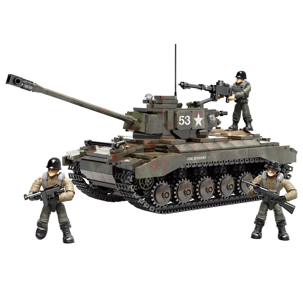 Soldados de la 2 Guerra Mundial, M4 de la Segunda Guerra Mundial, M4 de Alemania, tanque mediano, vehículo blindado militar, figuras del ejército SWAT, bloques de construcción, montar juguete