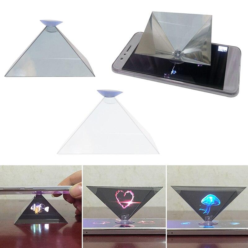 Proyector holográfico 3D para teléfono móvil, proyector de pantalla Universal piramidal, soporte de vídeo Universal para Xiaomi Mi 10 Huawei IPhone