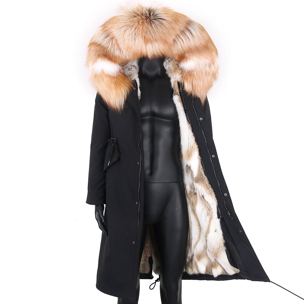 2021 سترة مضادة للماء للشتاء للرجال X-طويلة سترة معطف فرو الأرنب الحقيقي الطبيعية الراكون الثعلب الفراء طوق هود دافئ الشارع الشهير