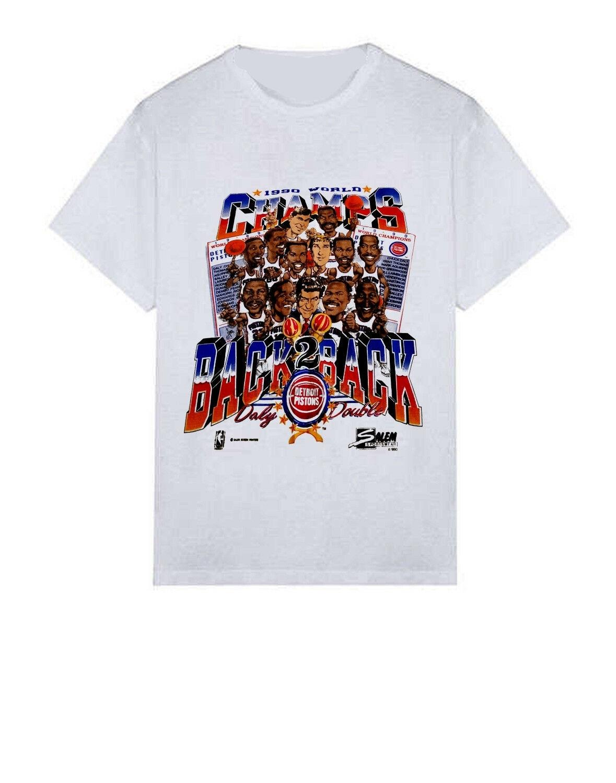 Camiseta deportiva Vintage 1989 1990 detroit pistions World chempions manga corta Camiseta envío gratis Venta al por mayor barata