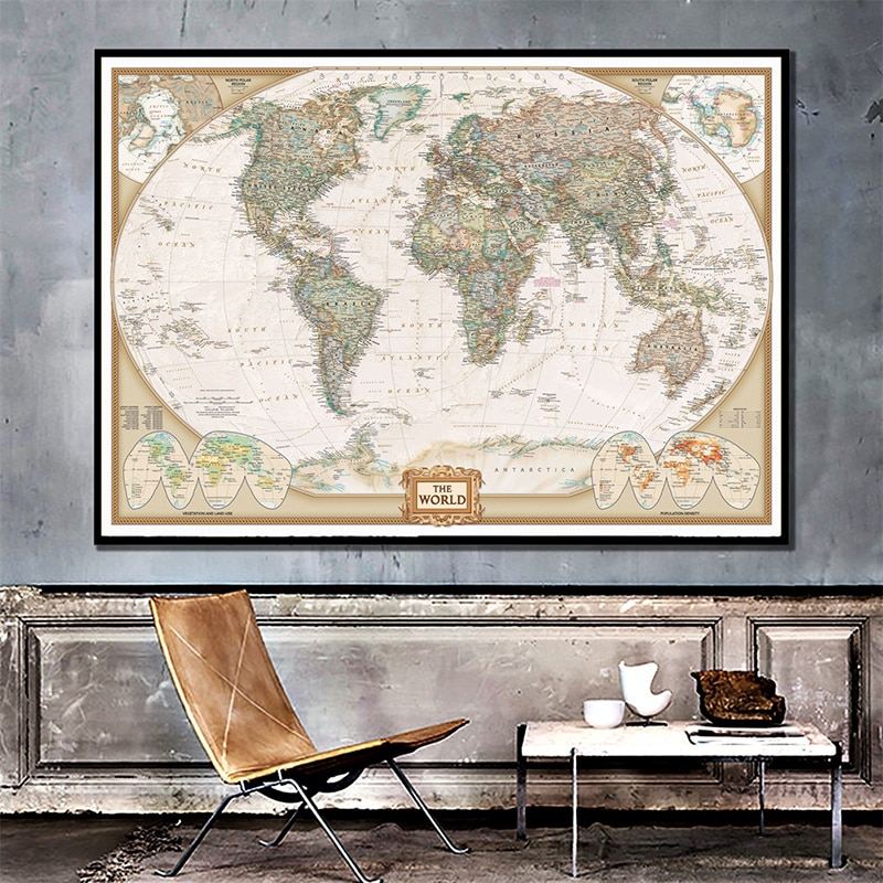 150x225cm The World Physical Map Non-woven Map of Important Rivers The World For Education Office Home Decor simon winchester map that changed the world