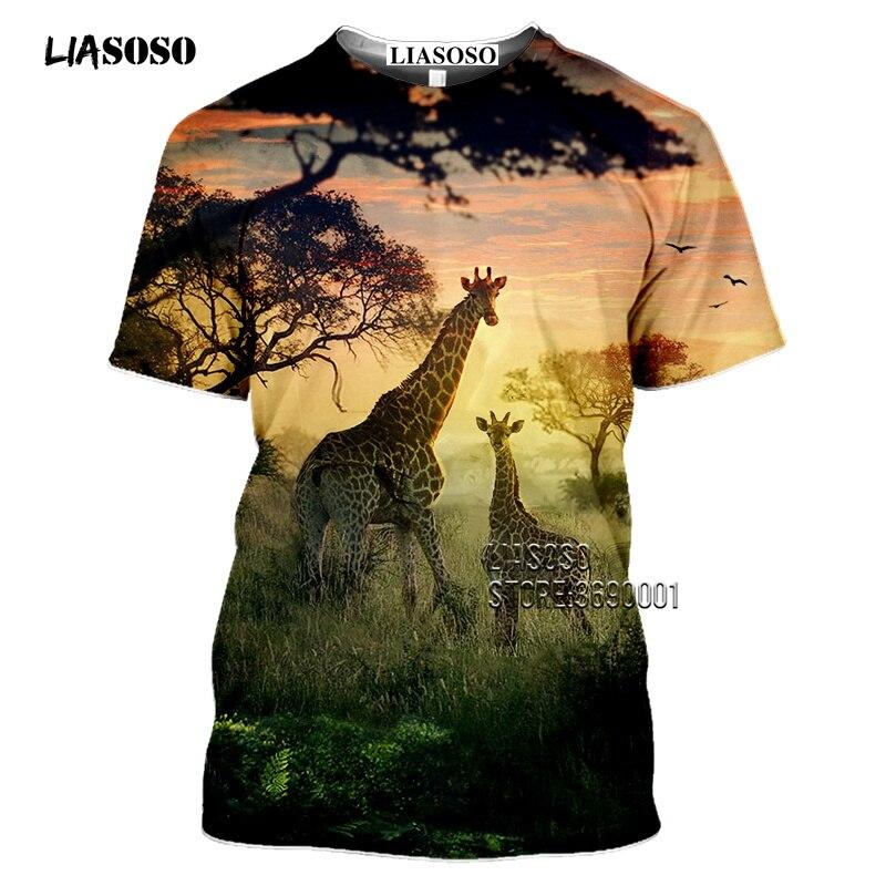 LIASOSO Beauty Wildlife Giraffe Sunset 3D Print Men T-shirt Women Summer Tshirt Harajuku Casual Short Sleeve Tee Shirts Clothes