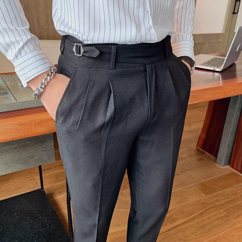 2021 Брендовые мужские серые деловые брюки, повседневные формальные мужские строгие брюки, весенние брюки, костюм приталенного силуэта, Кост...