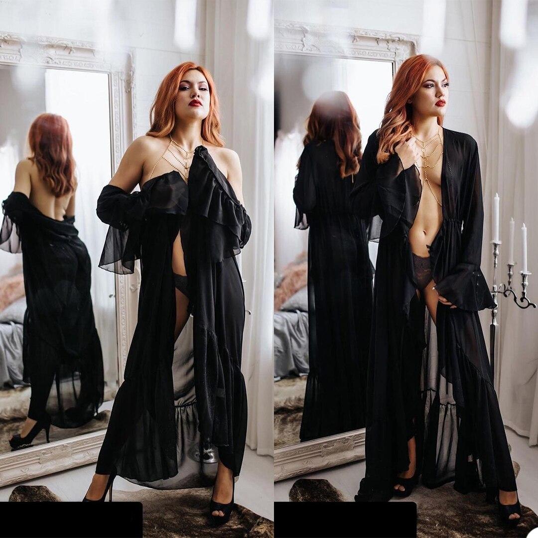 Vestido para Photoshoot Feito sob Encomenda Baile de Formatura Sexy Pescoço Elegante Noite Vestido Pregant Feminino Festa Banho Lingerie Robe v