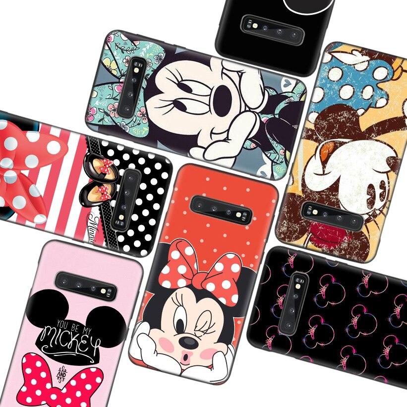 Minnie Mouse Girls Cute Black Phone Case for Samsung Galaxy S20 Ultra S10 Lite Note 10 9 8 S9 S8 J4 J6 J8 + Plus S7 S6 Edge