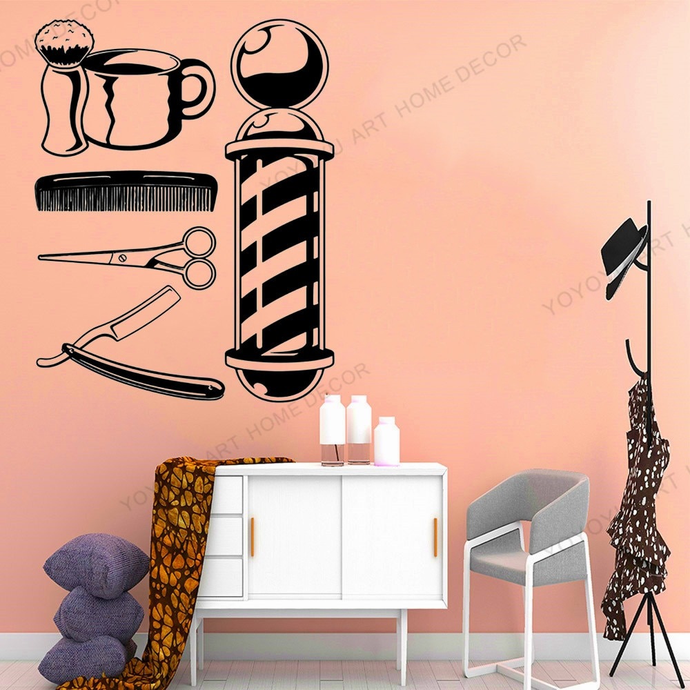 Autoadhesivo para barbería, Logo para decoración de ventanas, pegatina para pared de peluquería, estilizador de pelo, herramientas para barbería, salón de belleza Q94