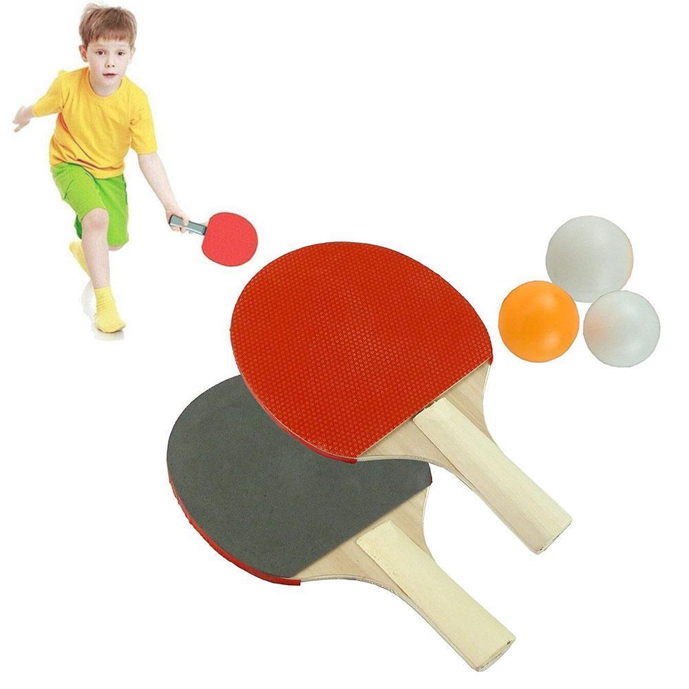 2 Pcs Tischtennis Schläger Doppel Gesicht Kleber Kurzen Griff Mit 3 Ping Pong Bälle Schläger Set