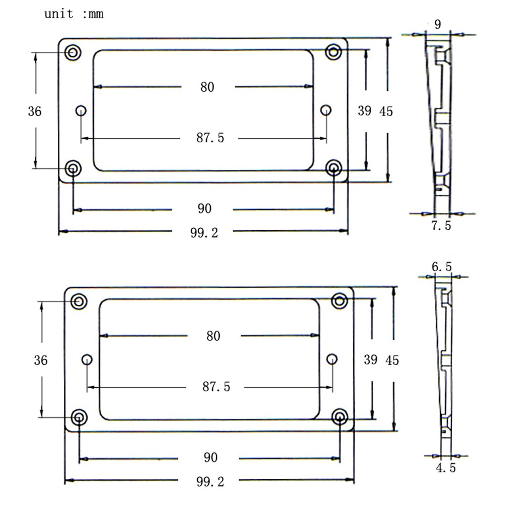 2 nero di Plastica Humbucker Pickup Anelli Telaio Ponte Collo Per 7-Corde di Chitarra