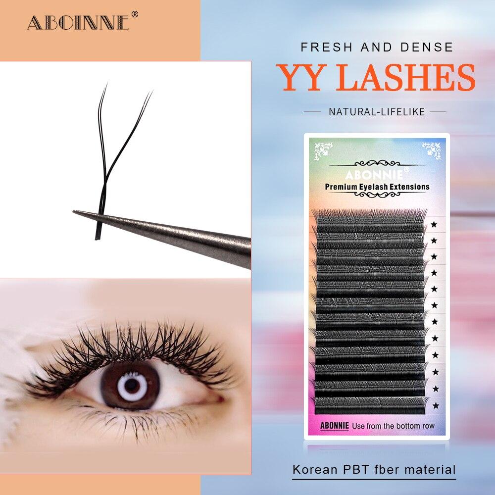 Abonnie 2D Premade Fans Y-Shaped d curl Lashes Tray  Eyelash Extensions Premium Lashes Lash Extensions YY Size Cilio