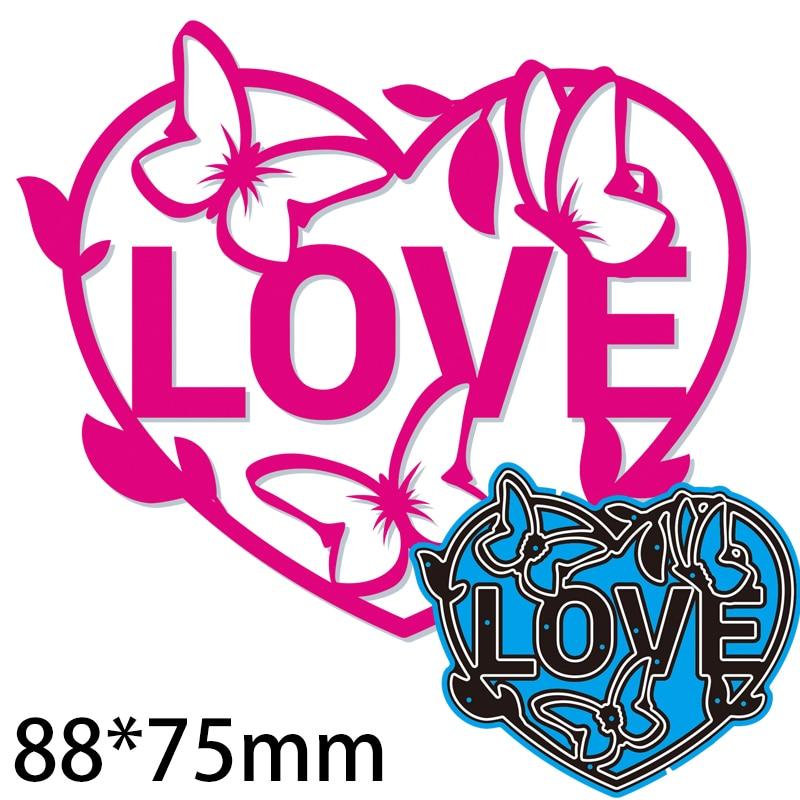 88*75mm Letter Love Design Cutting Cutting Dies DIY Scrap Booking Photo Album Embossing Paper Cards