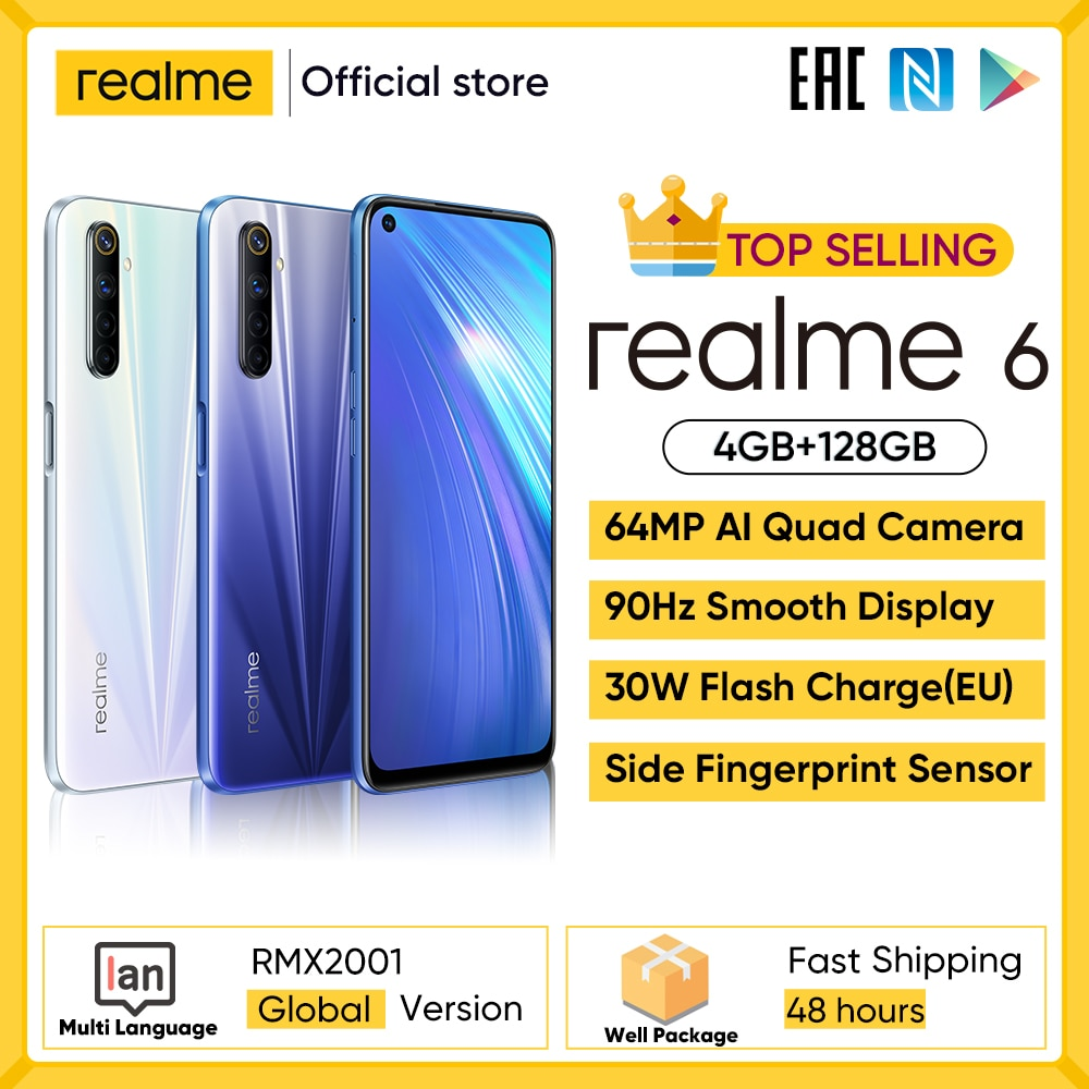 realme 6 NFC Global Version 4GB 128GB Mobile Phone 90Hz Display Helio G90T 30W Flash Charge 64MP Cam