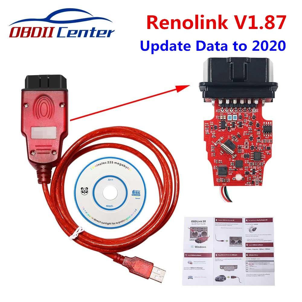 Newly Renolink V1.87 For Renault Car ECU Programmer Auto Key Programmer Renolink 1.52 USB OBD2 Diagn