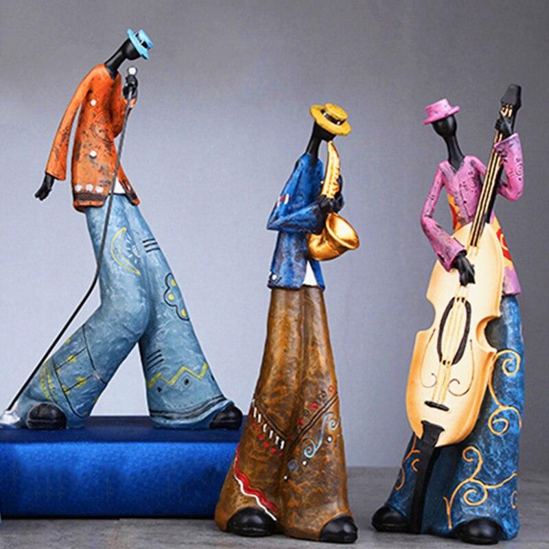 Figuras creativas de banda de Rock, escultura de muñeca de arte retro, artesanía de resina para sala de estar, gabinete, decoración del hogar, adornos, estatua de guitarra cantante