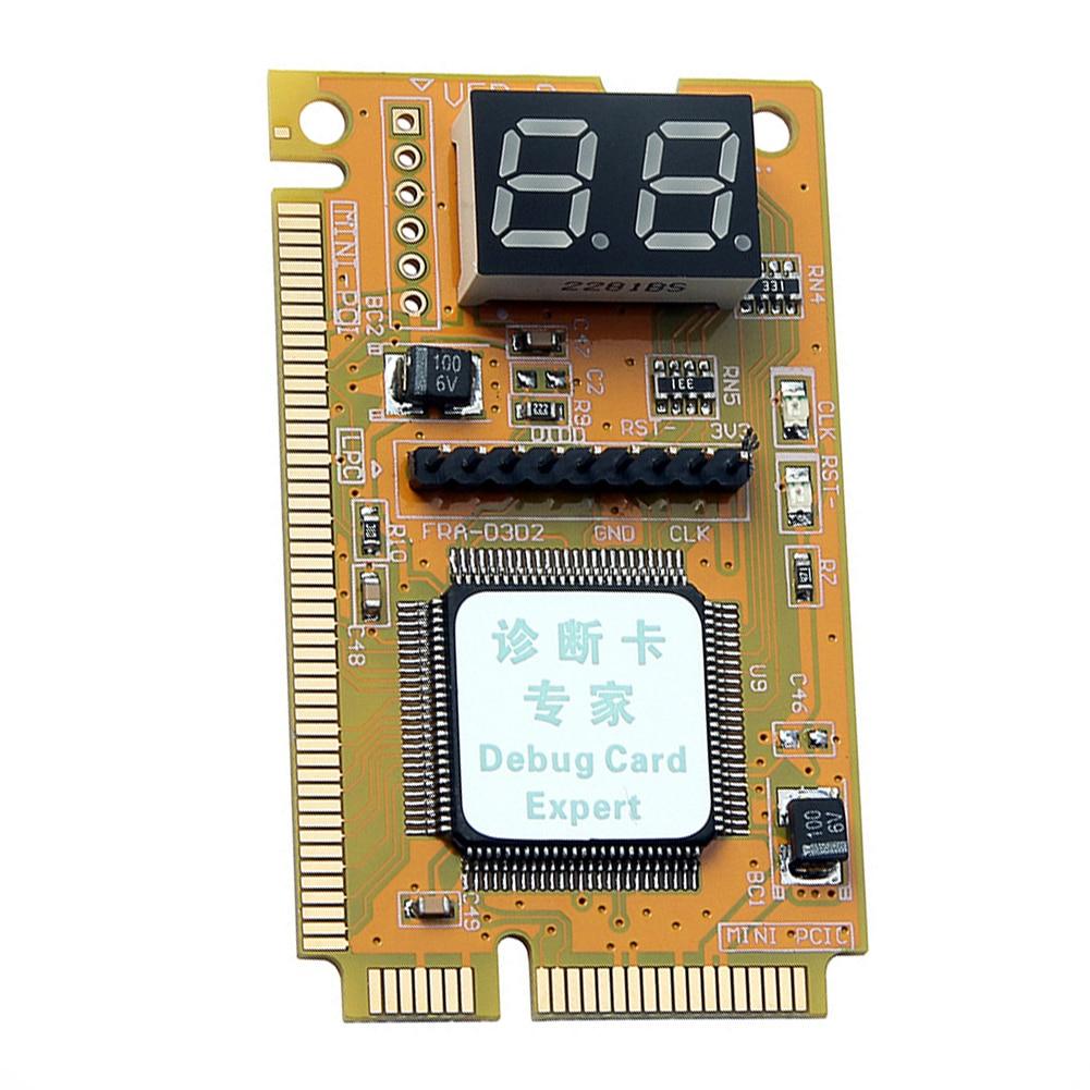 Analizador de placa base de computadora PCB Reparación de accesorios herramienta portátil de diagnóstico Tarjeta de 2 dígitos Mini PCI-E LPC estable oficina en casa