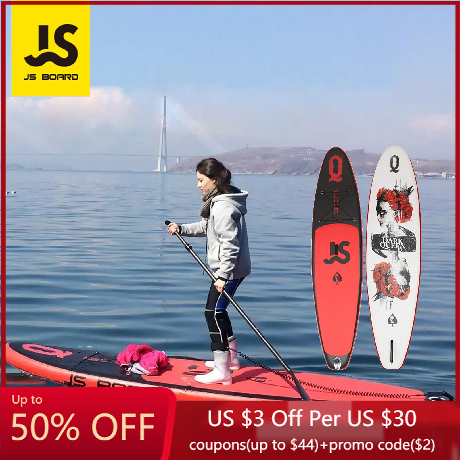 JS RQ335 SUP Surfboard Paddle Board Queen Standing  kitesurf Yoga Inflatable Slab Portable Waterboard Water Sports Surfing 335cm