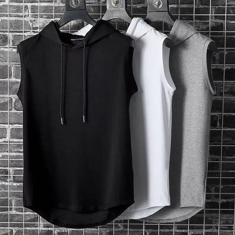 Camiseta sin mangas con capucha muscular para hombre, chaleco de entrenamiento para...