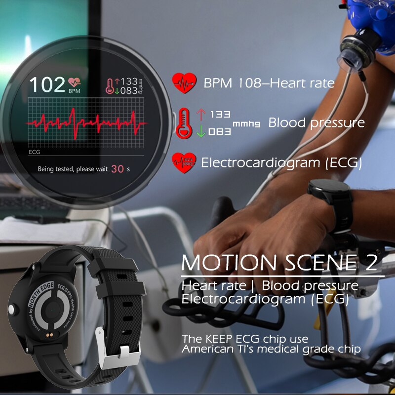 North Edge Smart Watch Man Blood Pressure IP67 Waterproof Smartwatch 2020 Fitness Tracker Wristband Heart Rate Monitor ECG PPG enlarge
