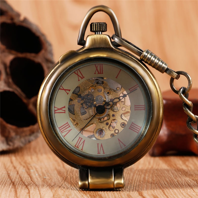 Vintage Bronze Men Women Skeleton Handwind Mechanical Pocket Watch Half Hunter Pendant Chain Roman Number FOB Clock Gift reloj