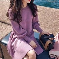new 2020 autumn winter women dress loose knit warm lantern sleeve elegant casual french office streetwear ladies dresses